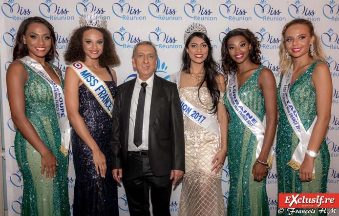 Avec Miss France et ses dauphines, et avec Aziz Patel, délégué Miss France