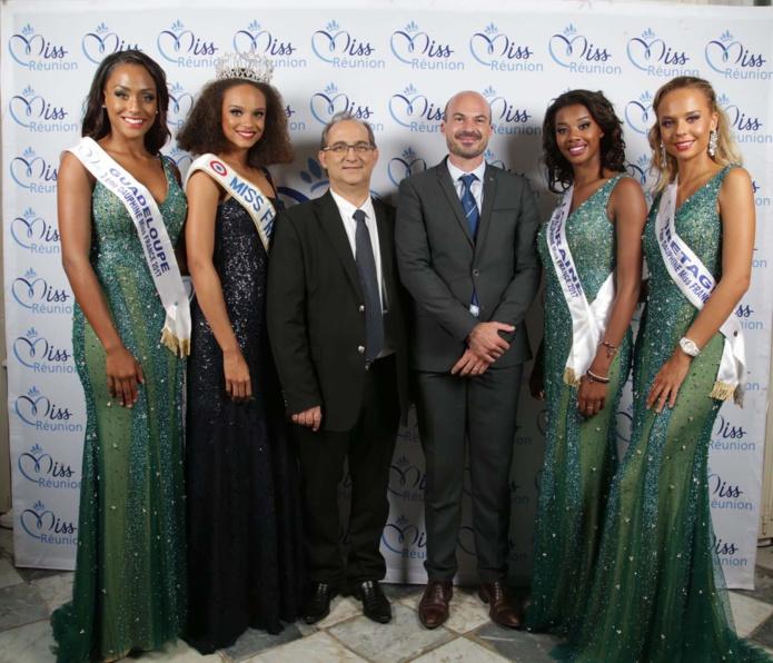 Miss France et ses dauphines avec Stéphane Fouassin, président de l'IRT, et Willy Ethève, directeur de l'IRT