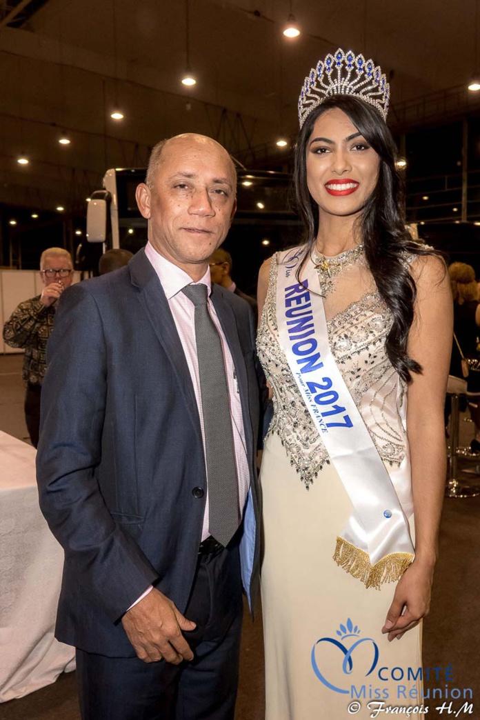 Jacques Lowinsky, président de la Sodiparc, avec Miss Réunion 2017