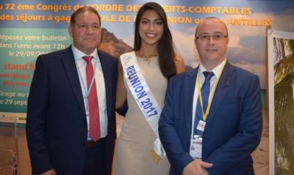 David Lorion, député, Audrey Chane Pao Kan, Miss Réunion, et Rémy Amato, président du Conseil Régional de l'Ordre des Experts Comptables