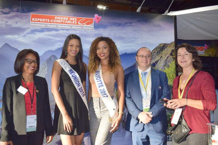 Miss Réunion 2018, Miss Mayotte 2017, Rémy Amato, et Sophie Desmot du CROEC