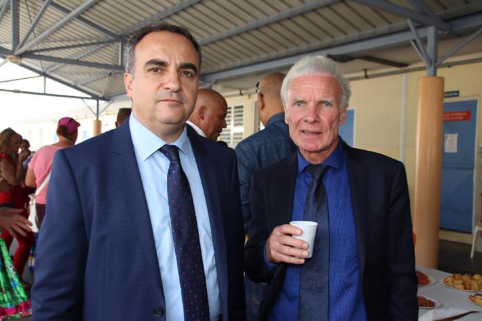 Lucien Giudicelli, sous-préfet de Saint-Pierre, et Paul-Franco-Técher, maire de Cilaos