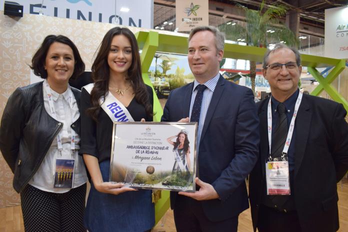 Suzanne Soba, directrice de l'IRT, Morgane Lebon, Miss Réunion 2019, Jean-Baptiste Lemoyne, Secrétaire d'Etat au Tourisme, et Stéphane Fouassin, président de l'IRT