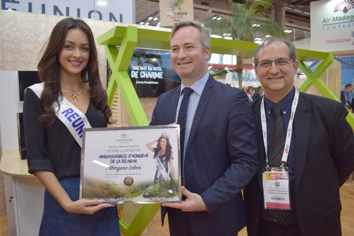 Morgane Lebon, Miss Réunion 2019, Jean-Baptiste Lemoyne, Secrétaire d'Etat au Tourisme, et Stéphane Fouassin, président de l'IRT