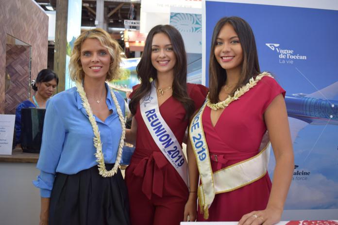 Sylvie Tellier, directrice générale Miss France Organisation., Morgane Lebon, Miss Réunion 2019, et Vaimalama Chaves, Miss France 2019
