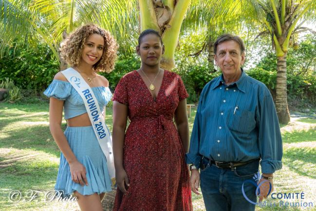 Lyna Boyer, Primilla Cévamy, adjointe à la culture mairie de Saint-André, et Aziz Patel, délégué Miss France
