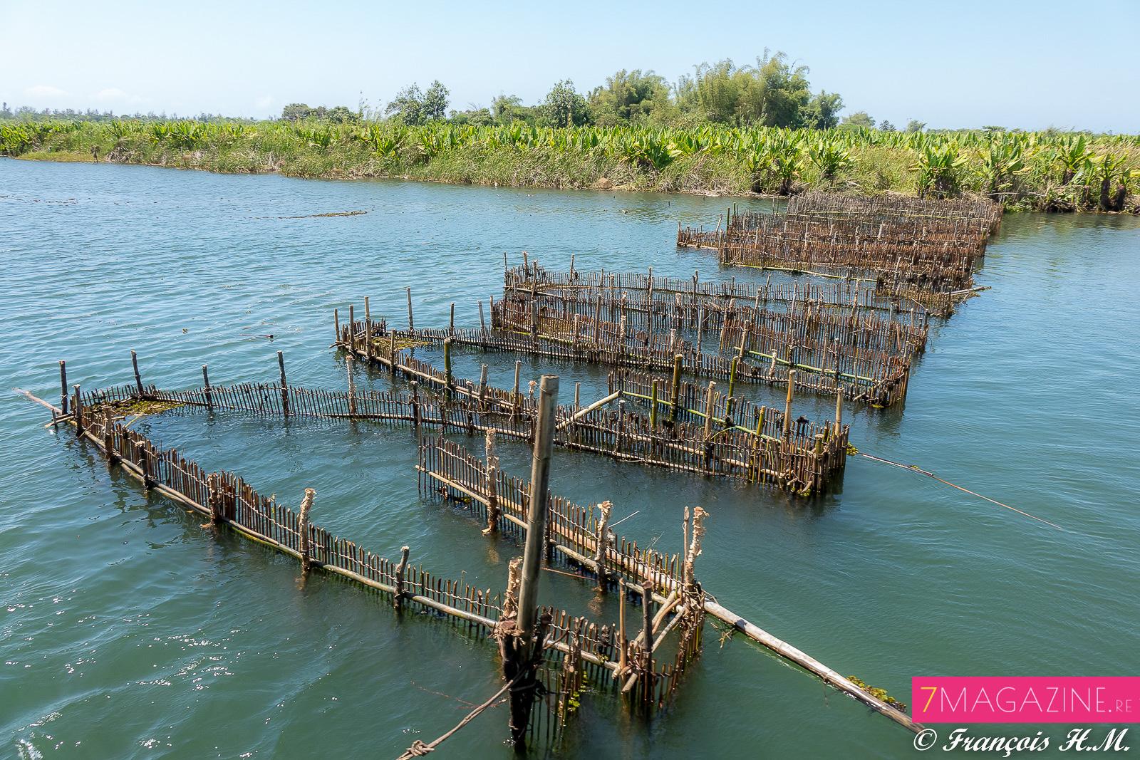 Tout le long du canal, les installations des pêcheurs