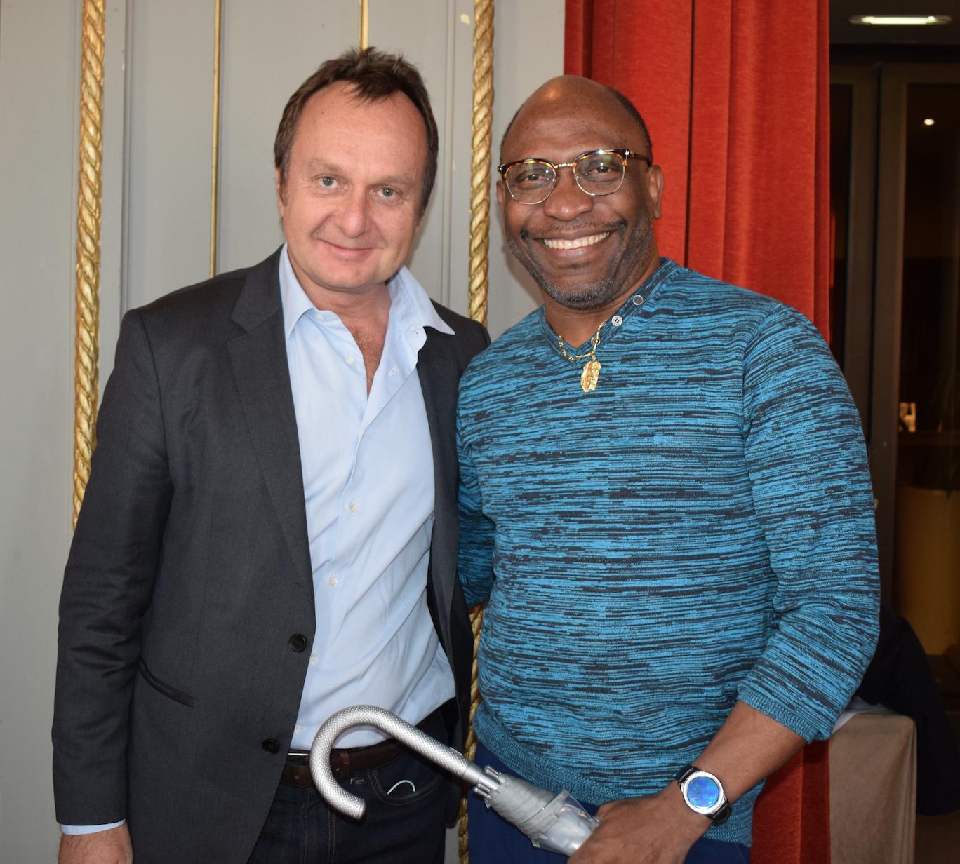 Nicolas Coppermann, président du Groupe Endemol France, et Robert Sebas, délégué de la Guyane