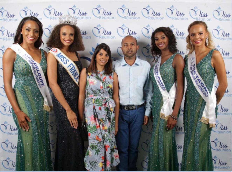 Miss France et ses dauphines avec Raziah et Hamza Mangrolia