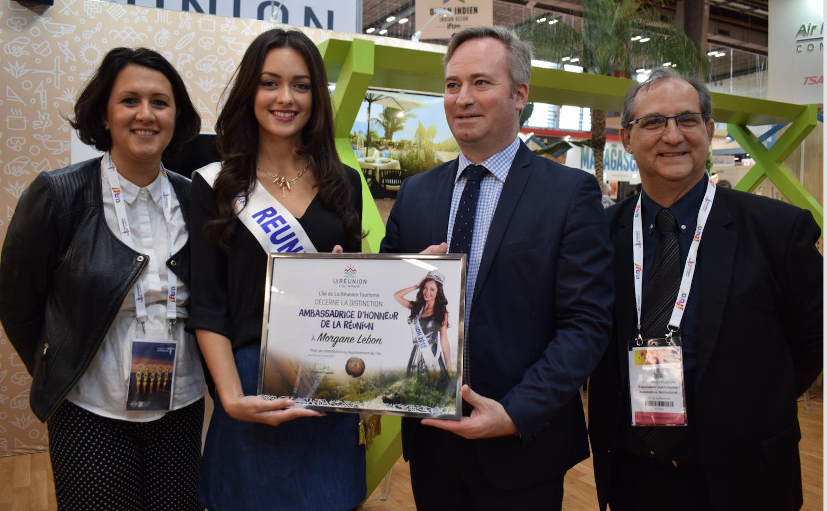 Morgane Lebon a été nommée Ambassadrice d'Honneur de La Réunion, son titre lui a été remis par Jean-Baptiste Lemoyne, Secrétaire d'Etat au Tourisme, en présence de Stéphane Fouassin et de Suzanne Soba
