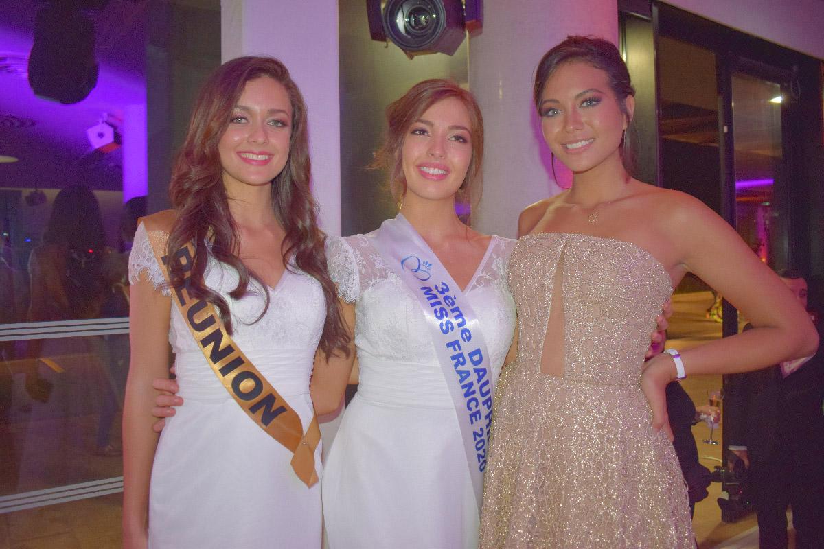 Miss Réunion, Miss Bourgogne, et Vaimalama Chaves, Miss France 2019