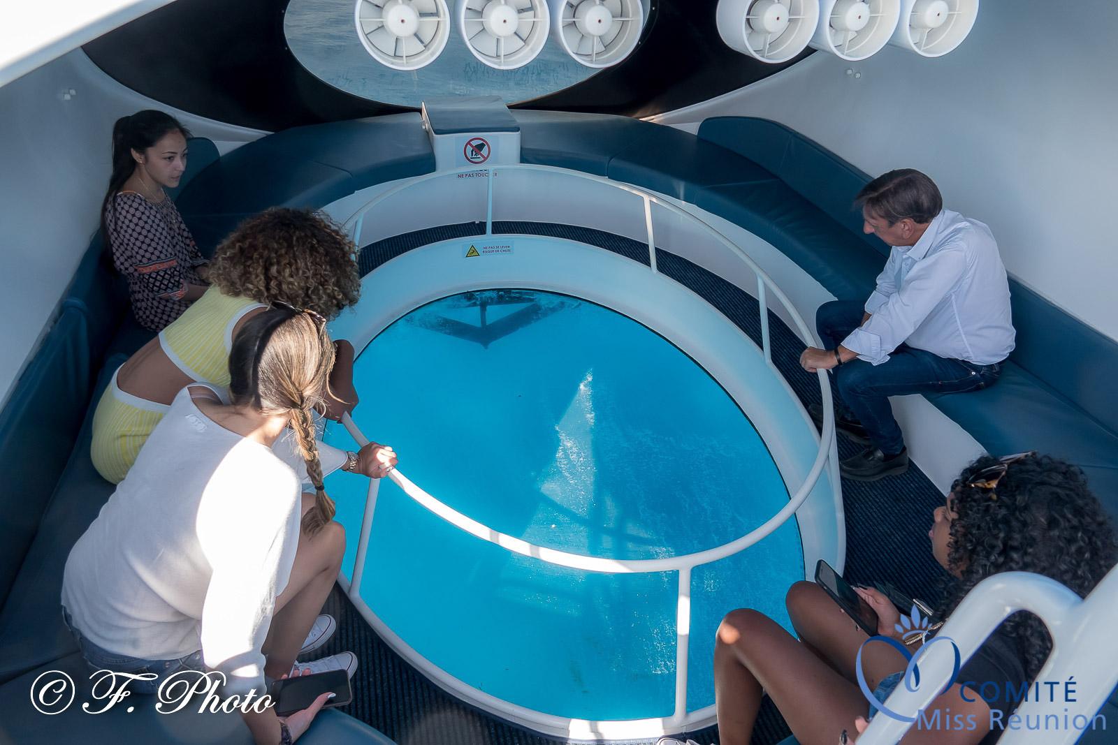 Une belle vue des fonds marins à travers le hublot du bateau