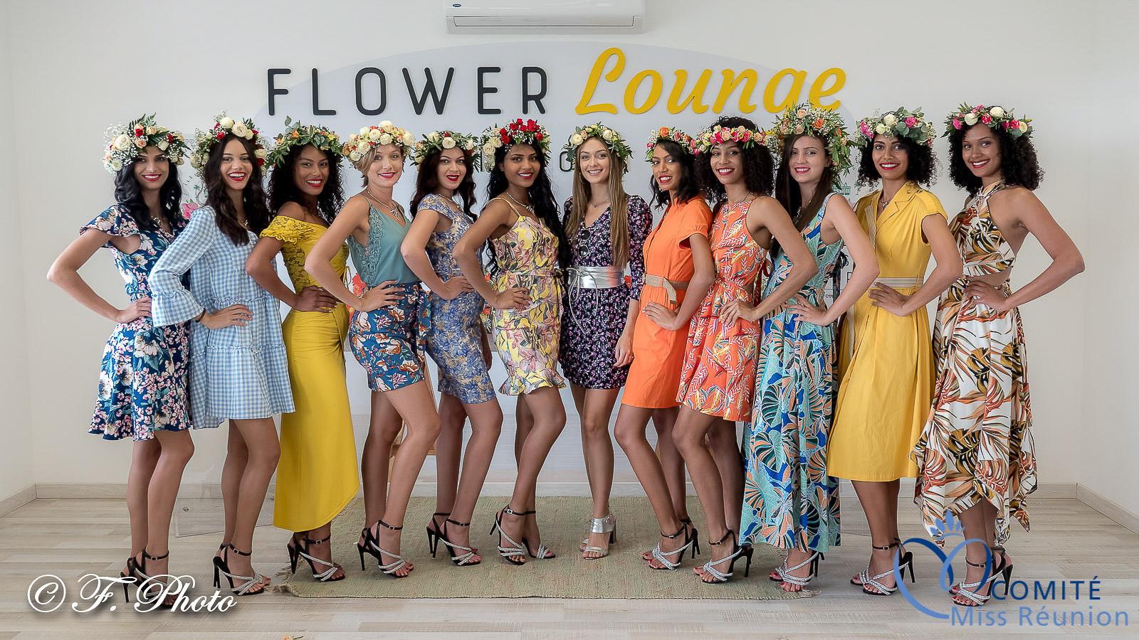 Les candidates Miss Réunion 2021 avec Morgane Lebon, leur chaperonne