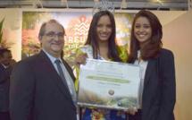 Stéphane Fouassin, président de l(IRT, Morgane Soucramanien, Miss Réunion 2018, et Aurore Kichenin, Miss Languedoc Roussillon 2016 et 1ère dauphine Miss France 2017